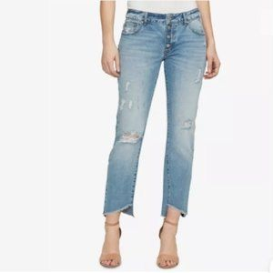 NWT Boyfriend Distressed Mid Rise Ankle Crop Jeans